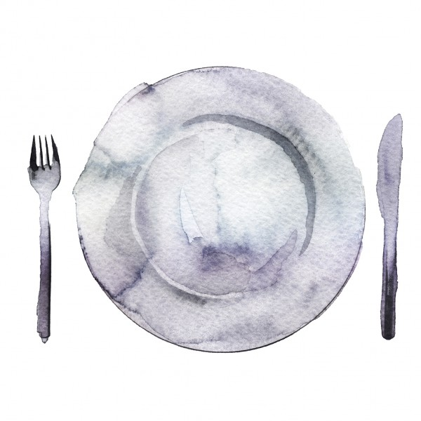 Watercolour of fork, plate and knife
