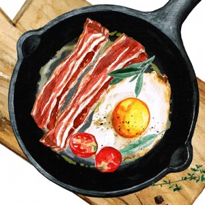 Watercolour of a fried breakfast in a pan with egg, bacon, tomato