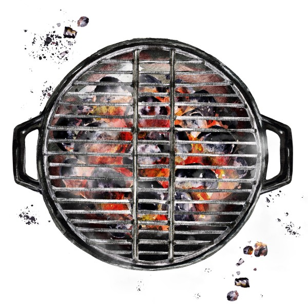 Plan view of barbecue with charcoals warming up
