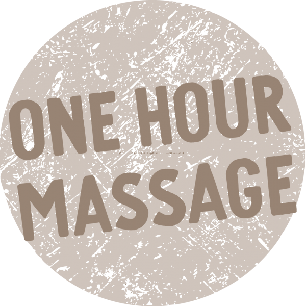 Text saying one hour massage